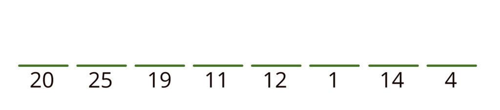 20 25 19 11 12 1 14 4