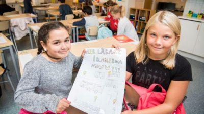 Två elever visar upp deras insändare.