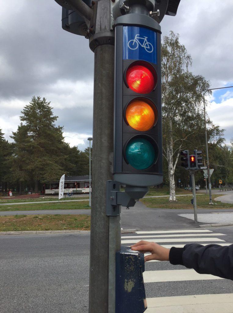 Närbild på trafikljus.
