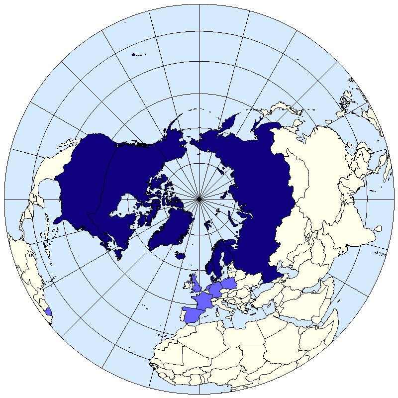 En kartbild över Arktis