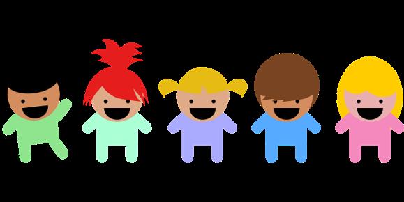 Barn står på rad
