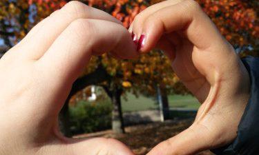 Händer formar ett hjärta i en park med träd med röda och gula löv.