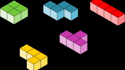 Klossar i olika färger och former