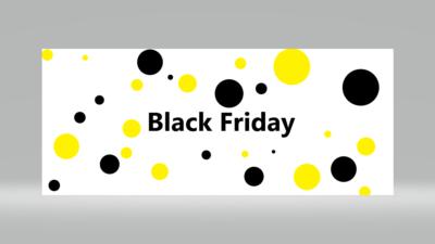 Stor svart text säger Black Friday med gula och svarta cirklar runtomkring texten