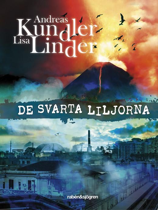 På bokens framsida är det en stor vulkan som det flyger fåglar framför och en mörk stad.