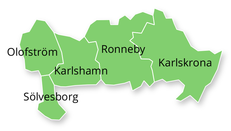 Karlskrona, Ronneby, Olofström, Karlshamn och Sölvesborg.
