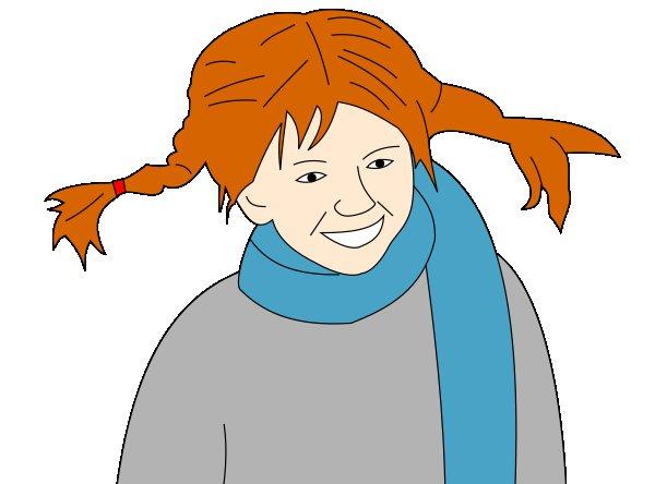 En tecknad bild av pippi. Hon har orangea flätor som står rakt ut och ler stort. Hon har en halsduk virad runt halsen.