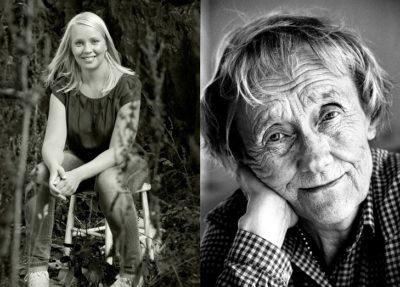 En bild på Lisa och en på Astrid. Lisa sitter på en pall i skogen. Hon har långt hår och ler mot kameran. Astrid lutar huvudet mot handen och ler lite. Hon har lagt huvudet i handen.