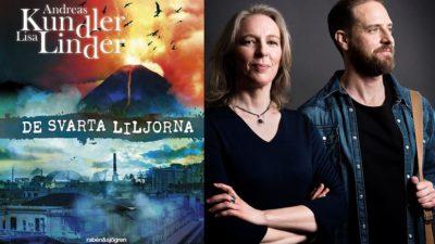En bild på boken och en bild på författaren. På bokens framsida är det en stor vulkan som det flyger fåglar framför och en mörk stad. Författarna står tillsammans Linda står med armarna i kors och tittar i kameran. Hon hår ner till axlanar och ett litet halsband. Andreas har hår som ligger bakåt. Han tittar åt sidan. Han har jeansjacka och en väska över axeln.