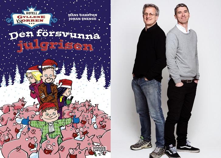 En bild på boken och en på författarna. På boken syns familjen Rantanen som står bland massa grisar ute i snön. Författarna står med ryggen mot varandra. De är 40-50 är gamla, har båda kort hår och gympaskor.
