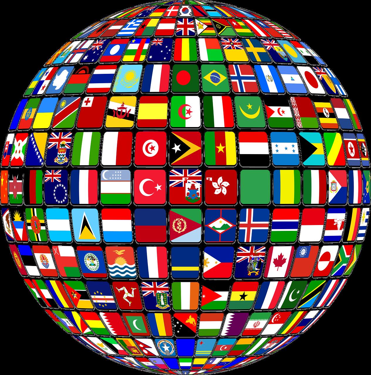 En rund glob som är täckte med flaggor från hela världen.