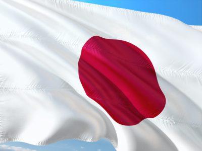 Japans flagga. En vit flagga med en röd cirkel i mitten.