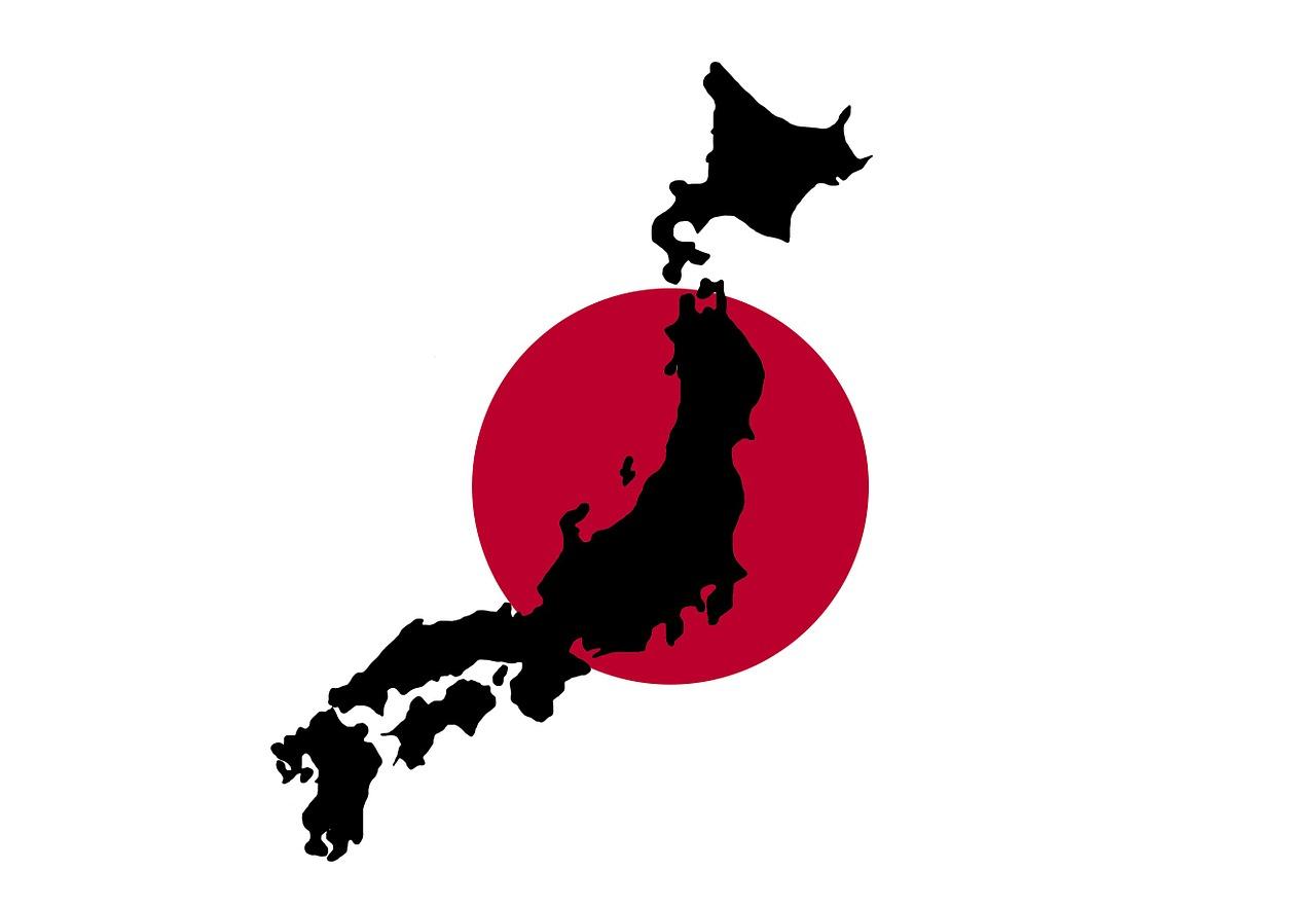 Konturerna av landet Japan ovanpå Japans flagga