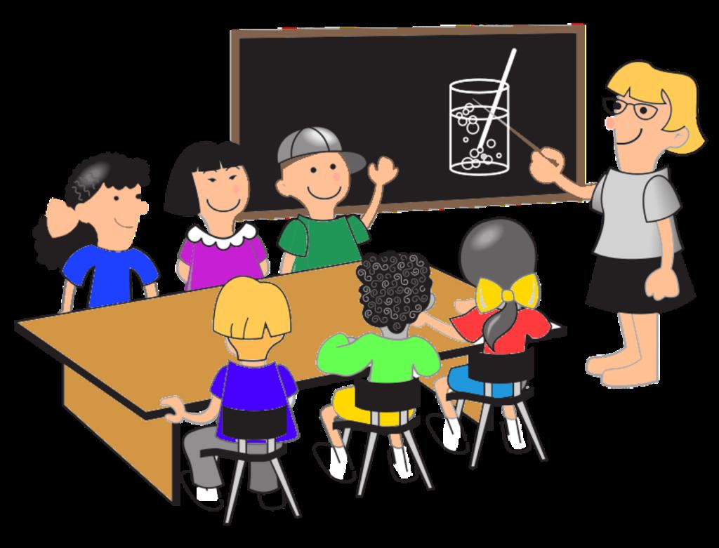 En tecknad lärare undervisar sex barn runt ett bord.