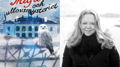 En bild på bokomslaget och en på författaren. På bokomslaget är det en stor byggnad i bakgrunden och en uggla som sitter en grind längst fram. Författaren står utomhus. Hon har långt och och ler.