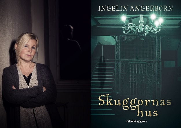 Två bilder där den till höger visar författaren. Hon har blont hår i en tofs och står lutade mot en vägg i ett mörk rum. Den andra bilden föreställer bokens framsida som har en mörk hiss och en ljuskrona.