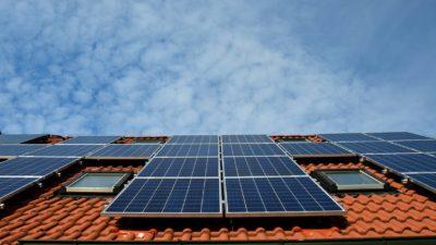 Ett tak med tegelpannor på. På tegelpannorna logger stora platta rutiga paneler. Solen skiner på panelerna.