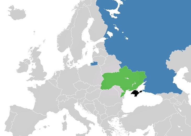 En karta över Ryssland, Ukraina och Krimhalvön. Ryssland är väldigt stort. Nedanför Ryssland ligger Ukraina och längst ner på Ukraina sticker halvön Krim ut.