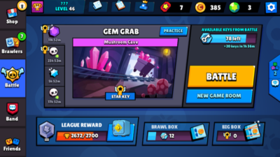 Några rosa kristaller från spelet Browl stars