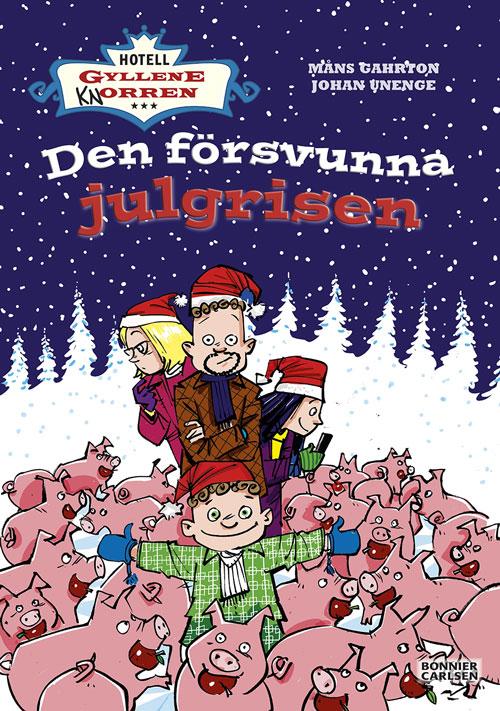 På bokomslaget syns familjen Rantanen som står bland massa grisar ute i snön.