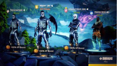 Skärmdump från pågående Fortnitespel.