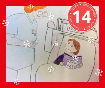 En teckning av ett barn som ligger i en sjuksäng. Bredvid står en snäll sjuksköterska med glasögon.