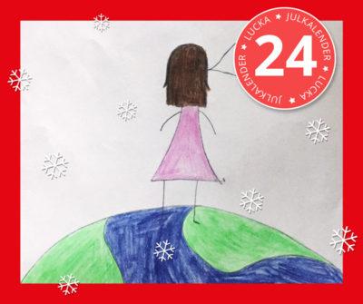 En teckning av ett barn i rosa klänning står på ett jordklot