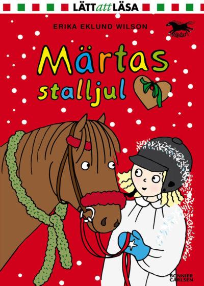 På bokens framsida är det en tecknad bild av Maja som håller i en häst. Hon har lucialinne och glitter ovanpå sin ridhjälm.