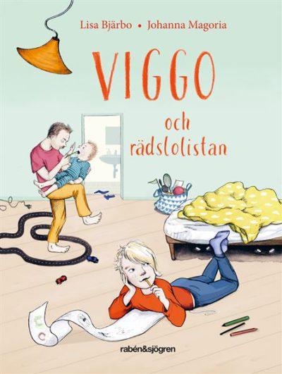 På bokens omslag är det en teckning av Viggo som ligger på ett golv och skriver. I bakgrunden syns Viggos pappa som försöker mata Viggos lillebror.