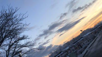 Skymning över ett vintrigt karlstad