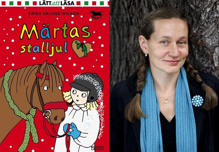 En bild på boken och en på författaren. På bokens framsida är det en tecknad bild av Maja som håller i en häst. Hon har lucialinne och glitter ovanpå sin ridhjälm. Författaren har långt hår i flätor och en halsduk hängande runt halsen.