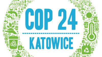 """En ritad bild. I mitten står det """"cop 24 Katowice"""" med stora bokstäver. Runtom är det en cirkel som består av många små symboler, till exempel en termometer, blad och pilar."""