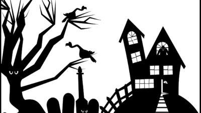 Ett svart och vitt spökhus.