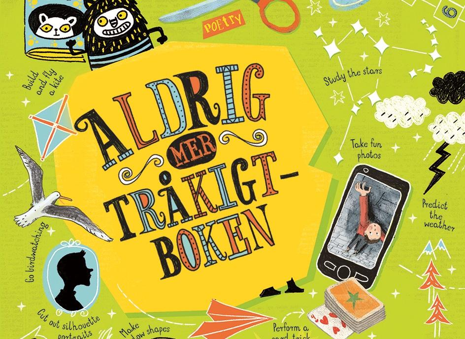 Fransidan av boken. Titeln står stort i snirkliga bokstäver och runtom är det fullt av text, och saker som saxar, mobiler, pappersflygplan, kortlekar, teckningar.