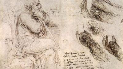 En teckning av en man som sitter på bänk. Han har benen i kors och lutar armarna mot en vandringsstav. Han har skägg och ser ganska gammal ut. Bredvid honom är det målat massa vågor.