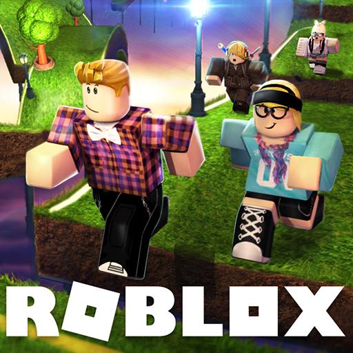 Illustrerad bild av två figurer som springer på en grön väg med texten Roblox i nederkanten.