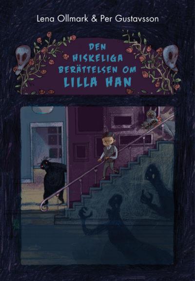 En bild på bokens omslag. Han går nerför en mörk trappa. Runt trappan är det fullt av spöklika skuggor.