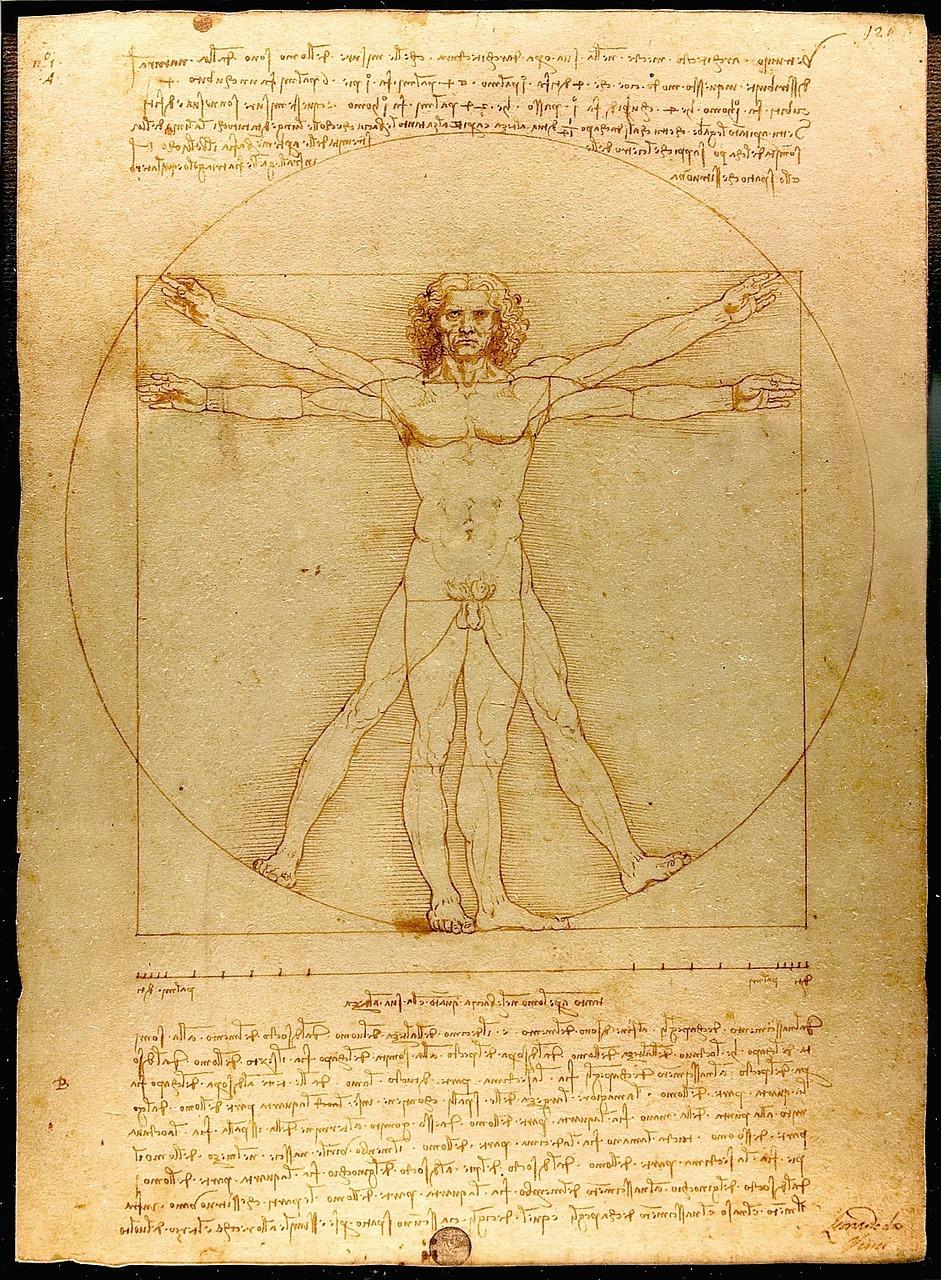 En teckning av en person med utsträckta armar och ben.