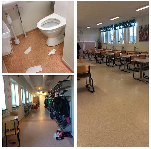Fotokollage över Saltöskolans toalett, matsal och korridor.