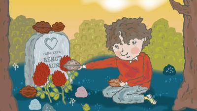 På bokens omslag sitter Elliot vid en gravsten och lägger mat där.