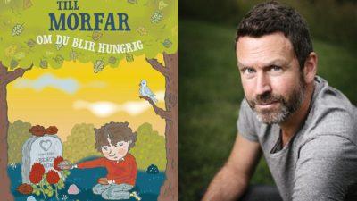En bild på omslaget och en bild på författaren. På omslaget sitter Elliot vid en gravsten och lägger mat där. Författaren är ungefär 45 år. Han har kort år, skägg och sitter på en gräsmatta.