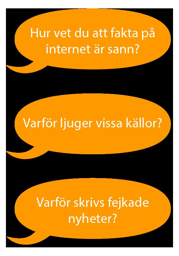 Tre orange pratbubblor med text: Hur vet du att fakta på internet är sann? Varför ljuger vissa källor? Varför skrivs fejkade nyheter?