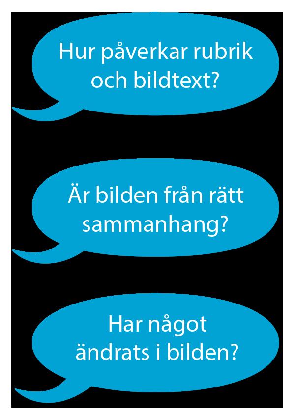 Tre blå pratbubblor med text: Hur påverkar rubrik och bildtext? Är bilden från rätt sammanhang? Har något ändrats i bilden?