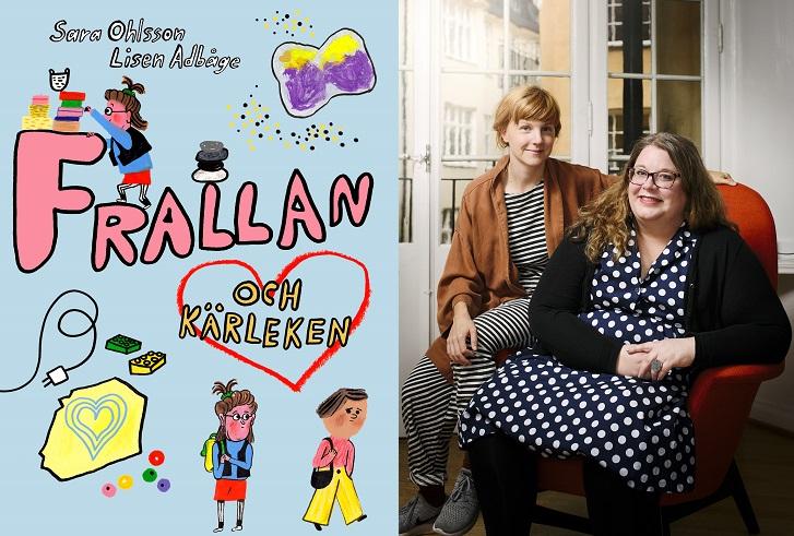 En bild på boken och en på författarna. På boken syns Frallan klättra runt på bokens titel och Frallan stå och titta efter Ester. Författarna sitter på en altan. Den enda har långt går i tofs och ser ganska ung ut. Den andra har prickig klänning. långt hår och glasögon.