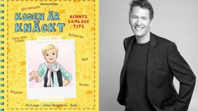 En bild på omslaget till boken och en på författare. Framsidan på boken föreställer en tecknad bild av Benny. Han har kort hår, ser glad ut och har en sjal runt halsen. Författaren Per ser ut att vara ungefär 40 år. Han har kavaj på sig och ler stort.