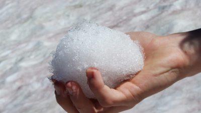 En person håller i en snöboll
