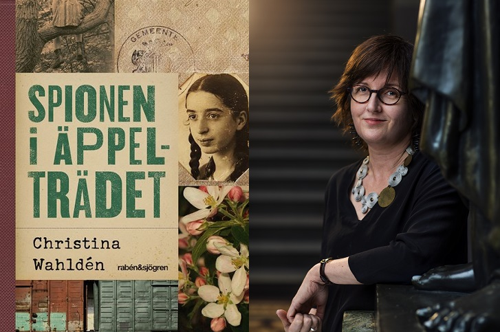 En bild på boken och en på författaren. På boken står titeln med stora bokstäver bredvid en bild på en flicka. Bilden ser väldigt gammal ut. Bredvid flickan är det äppelblommor. Föfattaren står framför en trappa. Hon har halvlångt hår, glasögon och ser ut att vara ungefär 45 år.