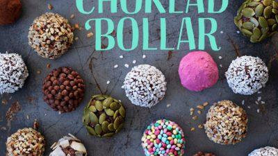 Bokens omslag. Det är täck med chokladbollar doppade i olika strössel och annat.