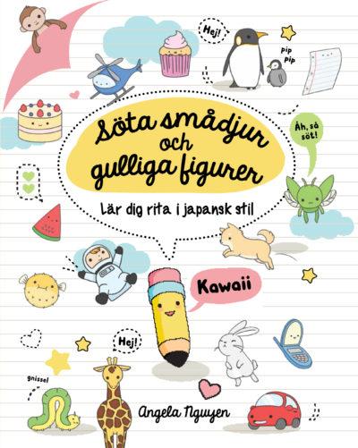 Bokens omslag. Omslaget är fyllt av små gulliga figurer och saker med ansikte, till exempem en pennamed ansikte.