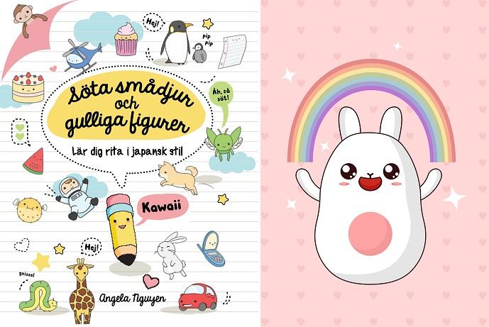 Bokens omslag och en söt tecknad figur med långa öron och en regnbåge ovanför sig. Bokens omslag är fylld av små gulliga tecknade figurer, till exempel en penna med ögon på.